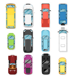 top view modern city car isolated set vector image