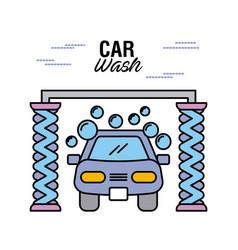 car wash service station auto clean maintenance vector image