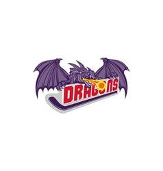 Dragon Fire Hockey Stick Retro vector image