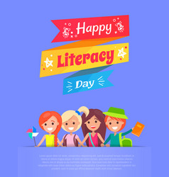 happy literacy day banner vector image vector image