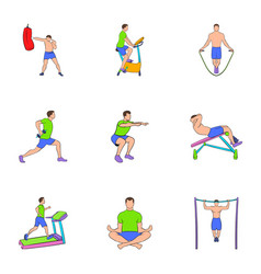 training apparatus icons set cartoon style vector image