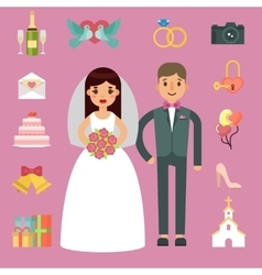 Bride and groom wedding couple vector image vector image