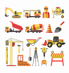 building and construction icons set vector image