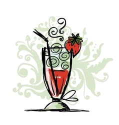 Cocktail with strawberry sketch for your design vector image vector image