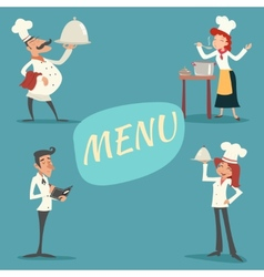 Happy Smiling Male and Female Chief Cook Waiter vector image