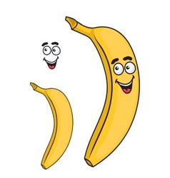 Happy smiling yellow cartoon banana fruit vector image
