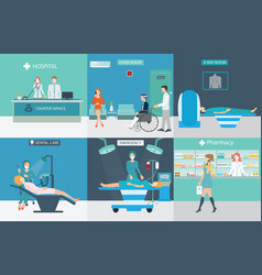 info graphic of medical services with doctors and vector image vector image