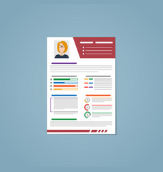 resume with a red strip vector image