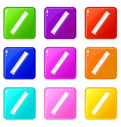 yardstick icons 9 set vector image