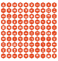 100 paying money icons hexagon orange vector image