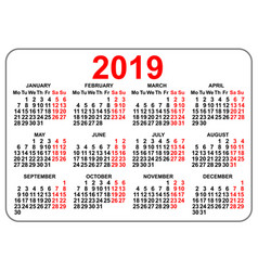 2019 compact grid pocket calendar first day monday vector image