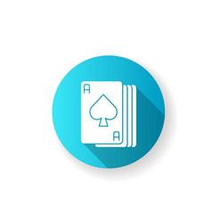Ace cards lgbt blue flat design long shadow glyph vector