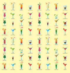 Alcoholic cocktails seamless pattern background vector