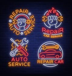 auto service repair collection of logo in neon vector image