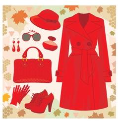 autumn fashion set vector image