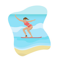 beach landscape girl surfing on the waves flat vector image