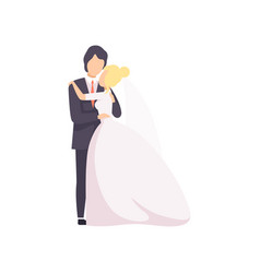beautiful elegant wedding love couple embracing at vector image