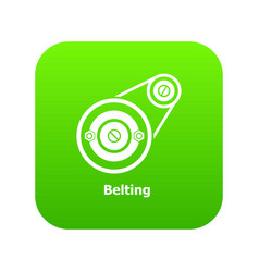 Belting drive icon green vector