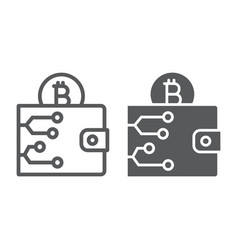 bitcoin wallet line and glyph icon money vector image
