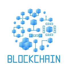 Blue blockchain technology round vector