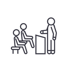 Business lecturer linear icon sign symbol vector