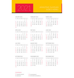 Calendar for 2021 year week starts on sunday vector