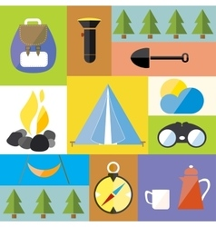 Cartoon Camp Design Nature Outdoor Boho Icon Set vector