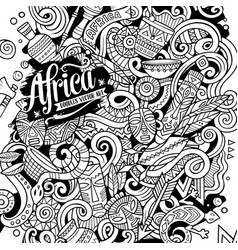 cartoon cute sketchy doodles africa vector image