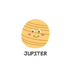 cartoon jupiter drawing with a smile on its face vector image