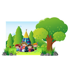 children camping out in the park vector image