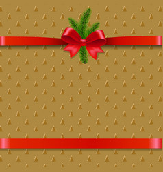 christmas background with xmas tree ribbon bow vector image