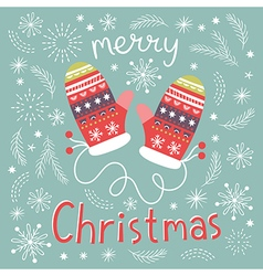 Christmas mittens greeting card vector