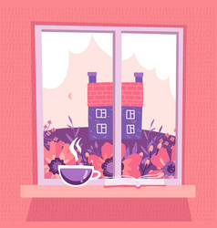 closed window with a spring landscape view pink vector image