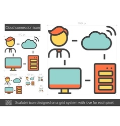 Cloud connection line icon vector