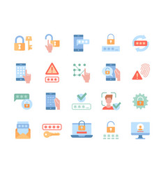 Collection of essential colorful password related vector