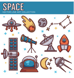 Collection of space cosmos objects in line art vector