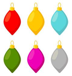 colorful cartoon xmas glass tree decoration set vector image