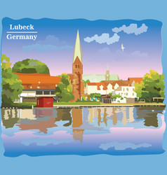 Colorful view on church in lubeck vector