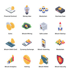 Concurrency and bitcoin isometric pack vector