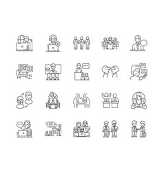 connecting people line icons signs set vector image