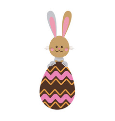 cute easter bunny with chocolate egg celebration vector image