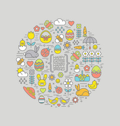 cute outline easter and spring icons vector image