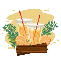 Delicious and refreshment drinks on beach vector