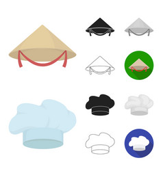 different kinds of hats cartoonblackflat vector image