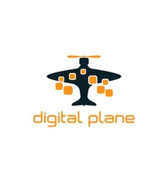 Digital plane concept design template vector