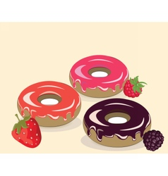 Donuts and fruits cream background vector