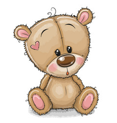 Drawing teddy bear on a white background vector