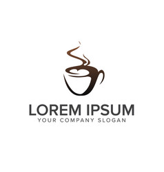 Drink coffee logo design concept template vector