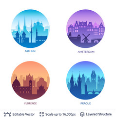 european famous city scapes set vector image