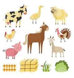 Farm animals birds rural symbols set vector